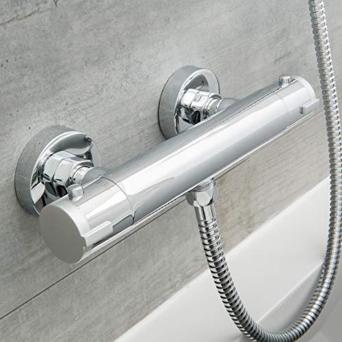 SCHÜTTE 52465 LONDON Thermostat Duscharmatur, Brausethermostat Brausearmatur, Mischbatterie mit Verbrühschutz bei 38℃, Duschthermostat, Armatur für Dusche in Chrom