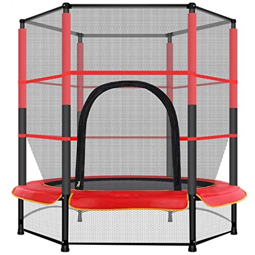 KRAUMETIK 55In Kids Trampoline With Enclosure Net Jumping Mat And Spring Cover Padding