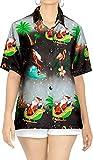 LA LEELA Hawaii Partido Aloha Camisa de la Blusa Mujeres Top Camisa de Santa Claus Santa Claus Christmas Party Shirt Halloween Negro_X176 S - ES Tamaño :- 42-44