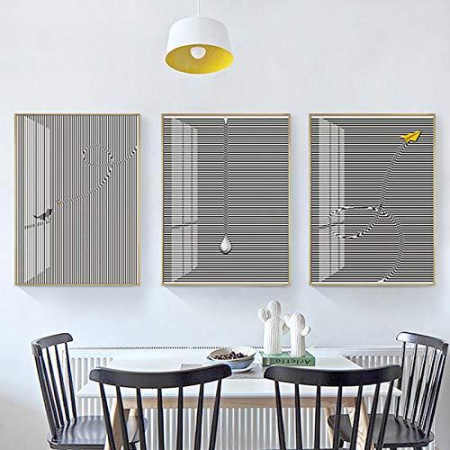 Mural de pared Murales murales de sala de estar Art Deco Painting_Modern Simple Industrial Wind Mural Geometric Lines Abstract Art Deco Painting@Sección B_50 * 70 (pintura de cristal)