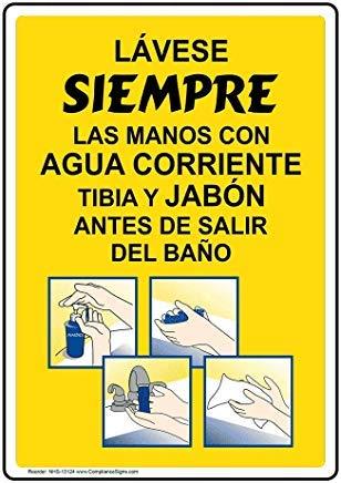 Verticaal Altijd handen wassen met zeep Spaans bord, Grappige Wanring borden, Poortbord, Vandaar Yard Sign,8