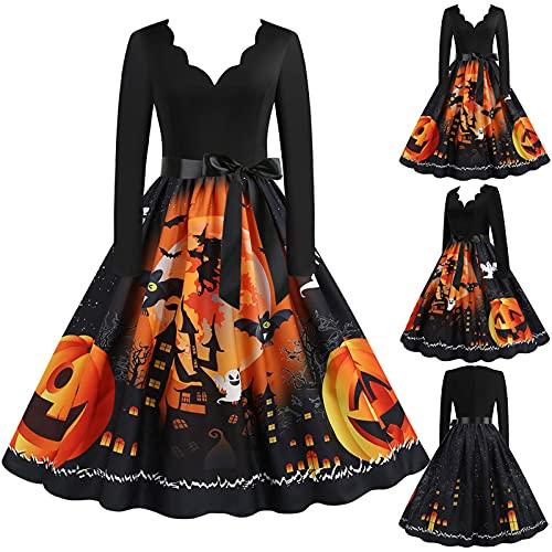 Vestidos de Halloween Manga Larga de Las Mujeres Años 50 Falda de Cuello Redondo Vintage Rockabilly Clásico de Impresión De La Vendimia Calabazas Cóctel Navidad Vestido Elegante de Fiesta(A05,3XL)