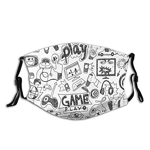 Monochrome Sketch Style Gaming Design Racing Monitor Device Gadget Teen 90s Face Mask Reusable Washable Masks Cloth for Men and Women