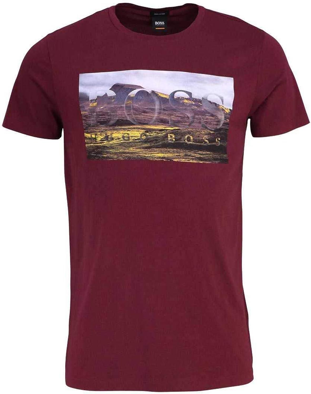 BOSS Casual Halbarm T-Shirt TEEDOG1 Rundhals Statement-Print weinrot B07G5V6D1J  Obermaterial