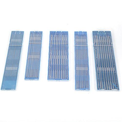 10 pcs 1.0/1.6/2.4mm Tungsteno WL20 TIG Electrodos de Soldadura Electrodo Lantanado Conjunto de Herramientas de Punta Azul(2.4 * 175mm)