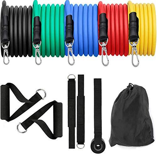 runhua Bandas Elasticas Musculacion, 11 PCS Bandas Elasticas Fitness, Gomas Elasticas Fitness con 5 Tubos de Látex, 150lbs Bandas de Resistencia Fitness, Gomas Elasticas Musculacion para Entrenamiento