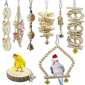 AIDIYA Lot de 8 Jouets à mâcher pour Oiseaux, Oiseaux Jouets perroquets, perruches, perruches, aras,