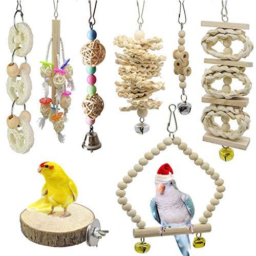 8 Packungen Vogelspielzeug, Vogelkäfig-Schaukel für Vögel und Papageien, Vogelkäfig-Spielzeuge - Natürliches Holz zum Aufhängen, für kleine Sittiche, Nymphensittiche, Sittiche