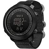 CakCity Men's Military Watch Outdoor Sports Digital Watches for Men with Compass Temperature, Steps Tracker, Large Dial, Black Band, Model: Apache