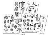 Vintage Anatomie Sticker Set   Aufkleber Körper   Journal Sticker   Sticker Knochen   Sticker schwarz weiß   Sticker Körper