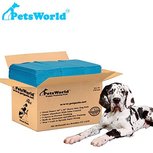 PETSWORLD Great Dane Dog Training Pads 36x36 Heavy Duty Pet and Puppy Training Pads, XXXL -150-Count + Free Bonus Dog Waste Bags (9 Rolls 180 Ct)