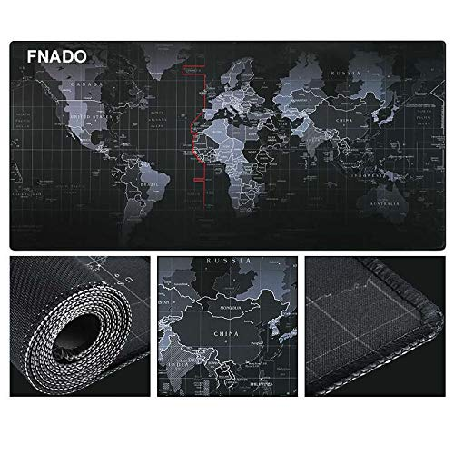 FNADO Extended Gaming Mouse Pad - Non-Slip Water-Resistant Rubber Base Cloth Computer Mouse Mat, 31.5x11.8-inch 3mm Thick XX-Large - World Map