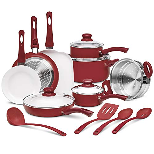 Ivation Ceramic Cookware | 16-Piece Nonstick Cookware Set with Induction Base, SoftGrip Handles & Clear Glass Lids | Compatible with Induction,...