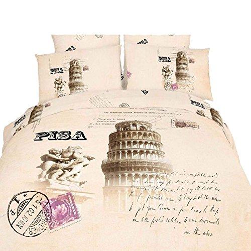 Dolce Mela DM494Q 6-Piece Novelty Bedding Duvet Cover Set, Queen, Pisa, Off-White