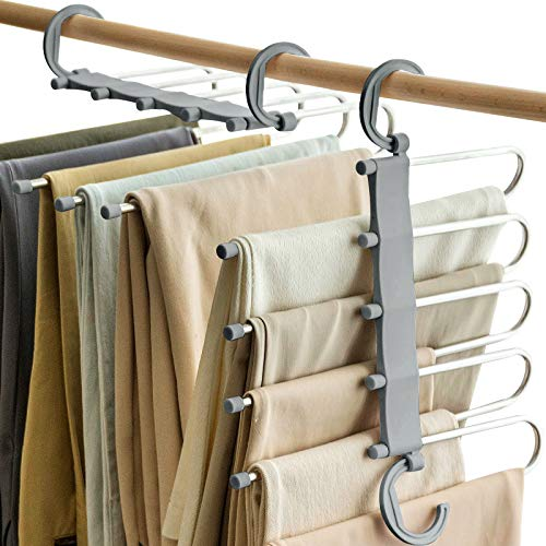 Vitalome Pants Hangers 5 Layers Stainless Steel Non-Slip Space Saving Clothes Closet Storage Organizer for Pants Jeans Trousers Skirts Scarf (Gray)