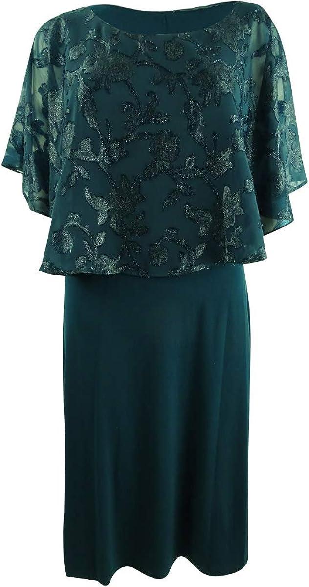 Connected Women's Metallic Chiffon-Cape Dress (6, Mallard)