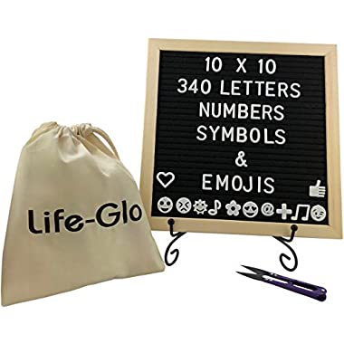 Felt Board with Letters - 10 x10 inches, 340 Characters Including Emojis, Huge Bag and Black Iron Stand, Black Felt Changeable Message Board Sign with Wood Frame by Life-Glo