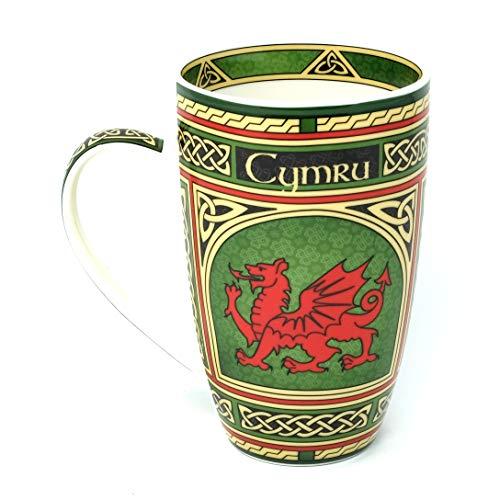 Wales Porcelain Cymru Coffee Mug - Welsh Red Dragon Scottish Pottery Cup with Irish Celtic Knots Design, Made of New Bone China 400ml/14fl oz