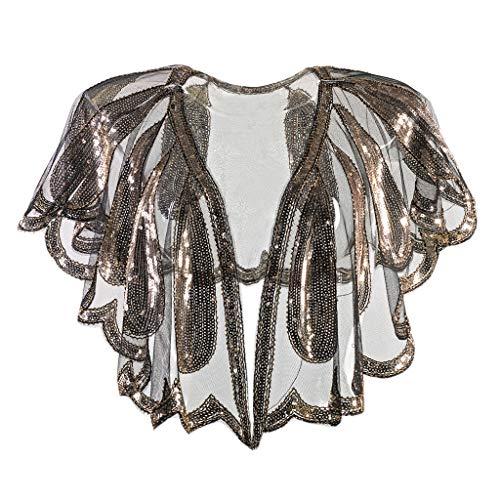 GATIK Frauen 1920er Jahre Schal Plus Size Perlen Pailletten Dekoration Party Abend Cape Festival Weihnachten Bolero Casual Cardigan Girls Flapper Cover Up(One Size,Gold-1)