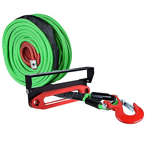 Great Deal! Astra Depot 95ft x 3/8 inch Green Synthetic Winch Rope Cable 22000LBs w/All Rock Guard +...