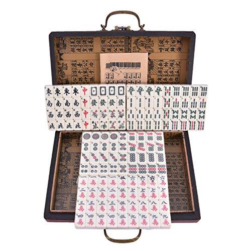 Pepional Mah Jongg Set, Chinese Riichi Mahjong Set 144 Tiles, Mah-Jongg, Mahjongg, Majiang, Mit Box, 144 STÜCKE Travel Mahjong Portable Mah-jongg Mit Archaistic Leather Box Und Handbuch In Englisch