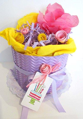 Torta di Pannolini DODOT | Modello MALVA | Personalizzabile con il Nome del Bebé | Diaper Cake | Baby Shower Gift Idea | Tono Rosa/Viola, Per Femminucce