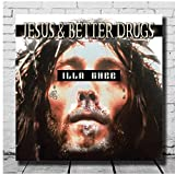 Mural Custom Illa Ghee - Jesus & Better Drugs Fabric Poster L-W Canvas Art Decor Album Cover Home Decor Living Room Decoration-24X24 Inch X1 No Frame