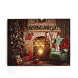NIKKY HOME - Lienzo decorativo de pared con iluminación LED con árbol de Navidad, medias y chimenea