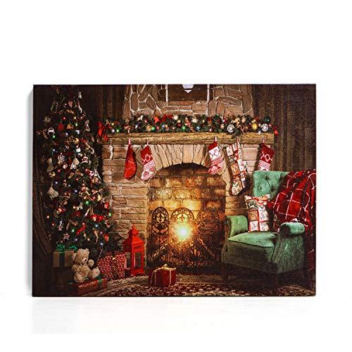 NIKKY HOME Christmas Canvas Printings Decorazione da parete a LED Caminetto Art Decorazione da parete Christmas