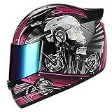 1STORM Motorcycle Bike Full FACE Helmet Mechanic Skull - Tinted Visor Pink