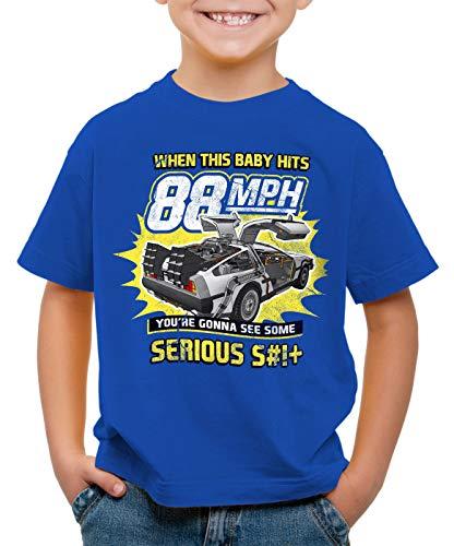 style3 88mph T-Shirt für Kinder DMC Zukunft Delorean zeitreise, Farbe:Blau, Größe:152