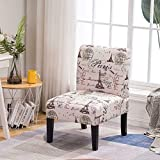 Beige Fabric Paris Print Armless Accent Chair for Living Room, Bedroom Lounge Single Sofa, Classic Design Home Furniture (330 lbs)