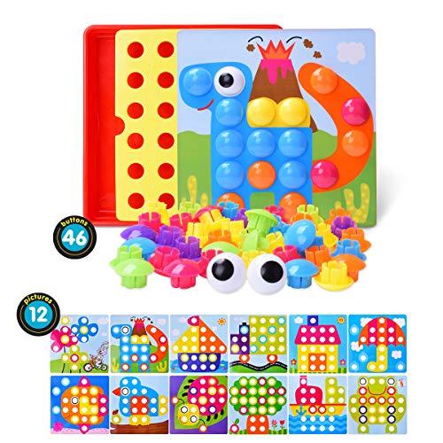 mejores Mosaicos para niños LEEHUR Puzzle 3D Mosaico Infantiles de Fichas, Juguete Educativo de Primera Infancia para Crear Multiples Combinacones y Distinguir Color para Niños - 46 Piezas