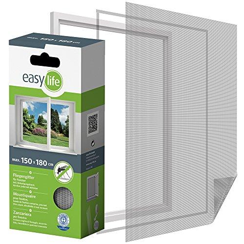 Easy Life Moustiquaire pour fenêtre à dimensions ajustables 150 x 180 cm blanc