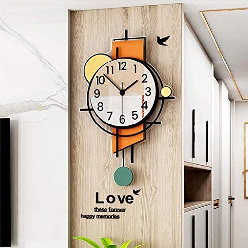 PANGPANGDEDIAN Personalidad Relojes de Pared Sala de Estar Decoración Péndulo PinPieces Movimiento de Cuarzo Silencio, Barrido, No Ticking, 35 * 56cm Despertador (Size : 40 * 60cm)