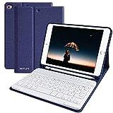 HOTLIFE Tastatur Hülle für iPad Mini 4/Mini 5 2019, Slim Soft TPU Abdeckung Keyboard Hülle mit eingebautem Pencil Halter & magnetisch Abnehmbarer drahtloser Bluetooth QWERTZ Tastatur (Dunkelblau)