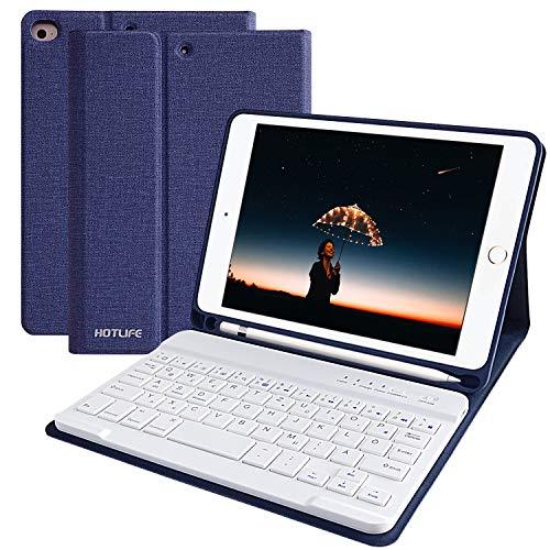 HOTLIFE Tastatur Hülle für iPad Mini 4/Mini 5 2019, Slim Soft TPU Abdeckung Keyboard Case mit eingebautem Pencil Halter und magnetisch Abnehmbarer drahtloser Bluetooth QWERTZ Tastatur (Dunkelblau)