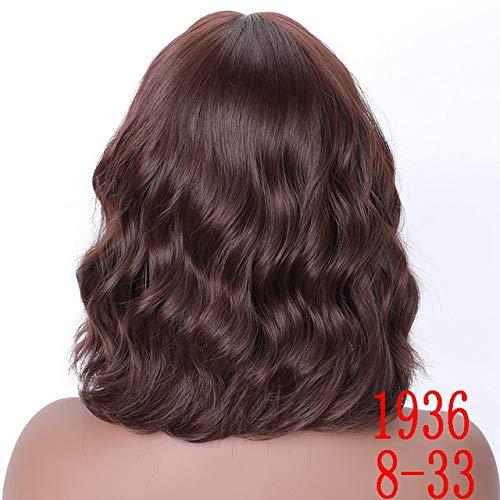 KYT-ma Cheveux synthétiques Brown 8 Couleurs court Vague perruques for les femmes Blanc / Noir résistant à la chaleur quotidien en fibres pleine faux cheveux ( Couleur : T1B/Red , Taille : 16inches )