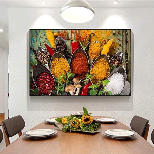 Sanzangtang Verschillende kruiden op tafel Moderne keuken hema muurkunst poster en afdrukken canvas muurfoto's keuken ruimtedecoratie frameloos schilderwerk