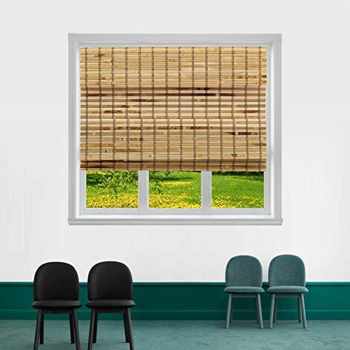 "TJ GLOBAL Cordless Flatstick Bamboo Roman Window Blind Sun Shade, Light Filtering Shades with 7-Inch Valance - Light Bamboo (36"" x 64"")"