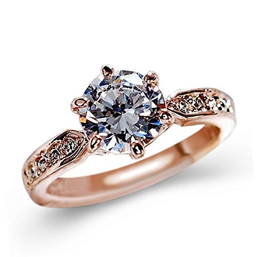 IWINO Koreaanse Flower Ring Classic Crystal Rose Gold Six-Claw Diamond Ring Wedding Ring Girl