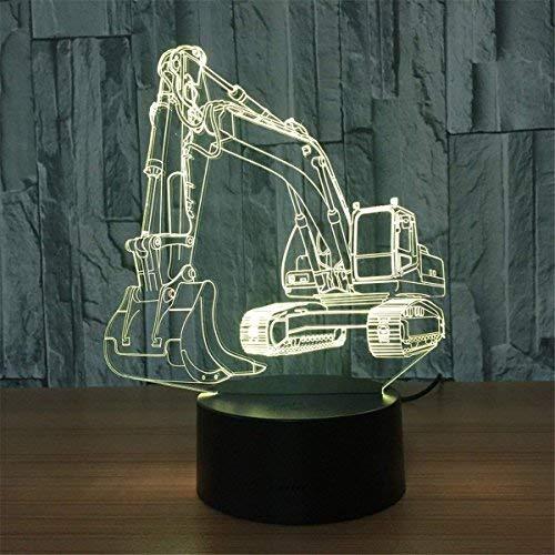 Preisvergleich Produktbild YKMY Exkavator 3D Illusion LED Lampe Nachtlicht,  7 Farben Flashing Touch-Schalter USB Powered Nightlight,  Schlafzimmer Dekoration Beleuchtung für Kinder Neuheit Weihnachten Geburtstagsgeschenk