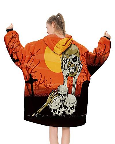 GuoCu Kapuzenpullover,Schädel Halloween Kostüm Übergroßes Hoodie Sweatshirt TV-Decke Wearable Decke mit Kapuze Flauschig Plüsch Pullover Fronttasche Lässige Homewear für Erwachsene 6 Einheitsgröße