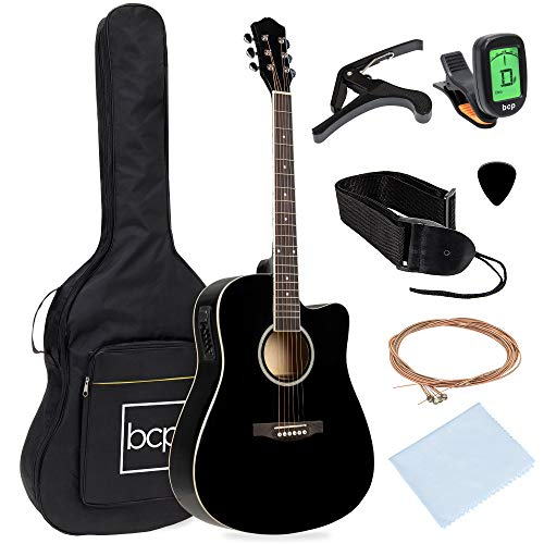 Best Choice Products Beginner Acoustic Electric Guitar Starter Set 41in w/All Wood Cutaway Design, Case, Strap, Picks, Tuner - Black