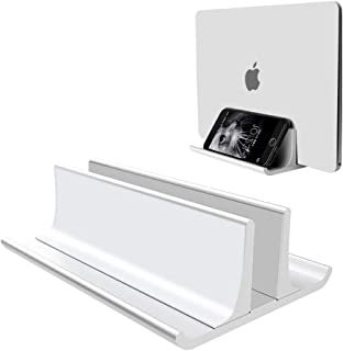 Vertical Laptop Stand Holder Adjustable Desktop Notebook Dock Space-Saving Three-in-one for All MacBook Pro Air, Mac,HP, Dell, Microsoft Surface,Lenovo, up to 17.3 inch Silver …