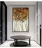 Geiqianjiumai Resumen Puntos Dorados Puntos Lienzo Moderno póster impresión Creativa árbol decoración Pared Arte Imagen Sala Moda sin Marco Pintura 60X90cm