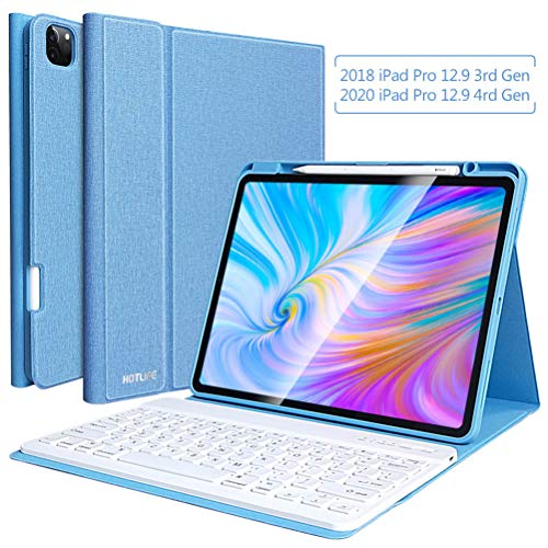 Keyboard Case for iPad Pro 12.9 2020 4th Generation(Model:A2229/A2069/A2032/A2233)-iPad 3rd Gen 2018, (Model Number: A1876/A2014/A1895)- iPad Pro 12.9 Wireless Keyboard Case with Pencil Holder