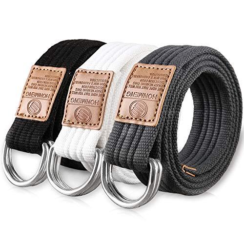 Hantier 3 Paquetes Cinturones de Tela de Lona 1.25' Hebilla Ancha del Anillo en D Doble Para los Hombres, Estilo Militar Ajustable del Color Sólido (Negro + Blanco + Azul-gris)