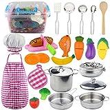 DMAIP Küchenzubehör Kinderküche Kochgeschirr Edelstahl Pfannenset Schürze und Kochmütze für Mädchen und Jungen