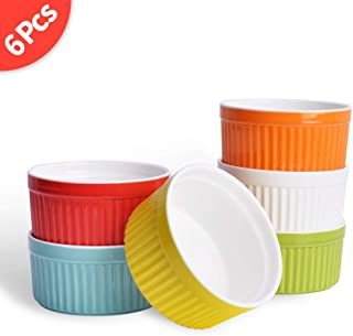 8 Oz Porcelain Ramekins, SZUAH Baking Ramekins for Souffle, Creme Brulee and Ice Cream(Set of 6, Assorted Colors)